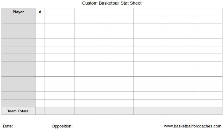 custom basketball stats sheet