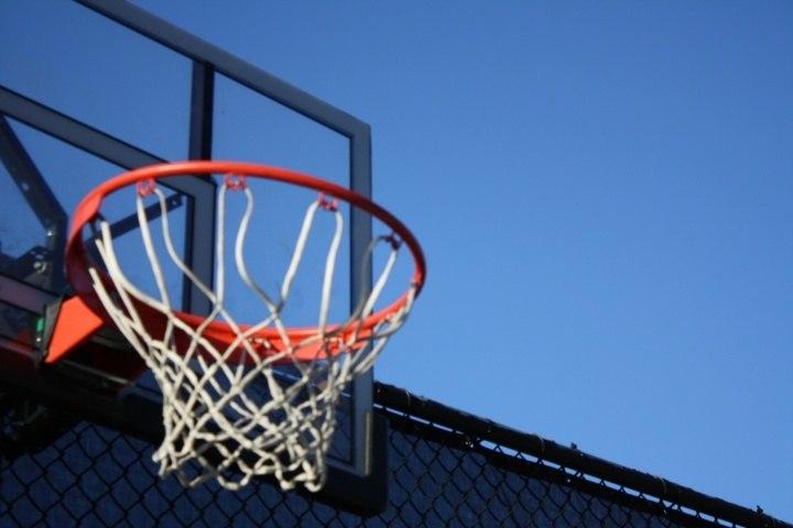 gray metal frame basketball hoop