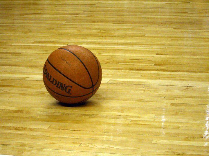 spalding basketball on the floor